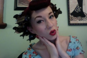 All hair in curlers.
