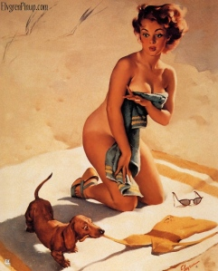 gil_elvgren_pin_up_1950_pinup-weiner-dog-beach