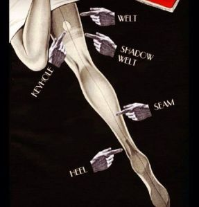 Anatomy of the seamed stocking, posted by Dita Von Teese.