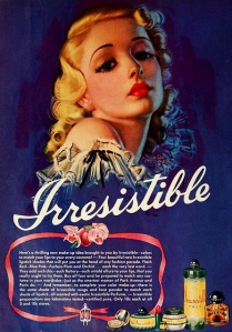 Irresistible Cosmetics advert, 1939. Artwork by Zoe Mozert.
