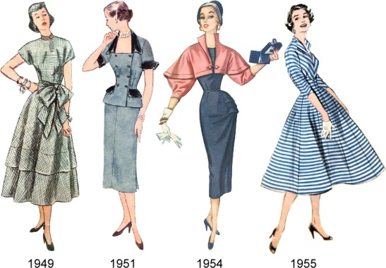 Vintage fashion silhouettes.