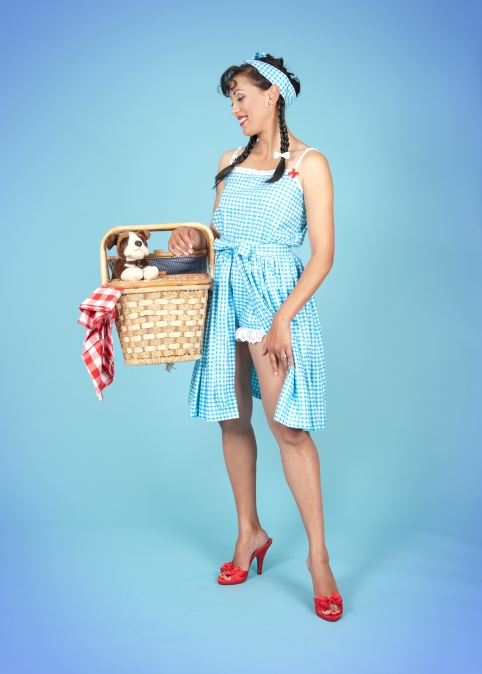 Miss Lady Salsa in a cute playsuit and wrap skirt!