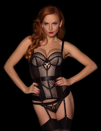 The incredible Australian model Tiah, wearing Honey Birdette's Maxine bustier!