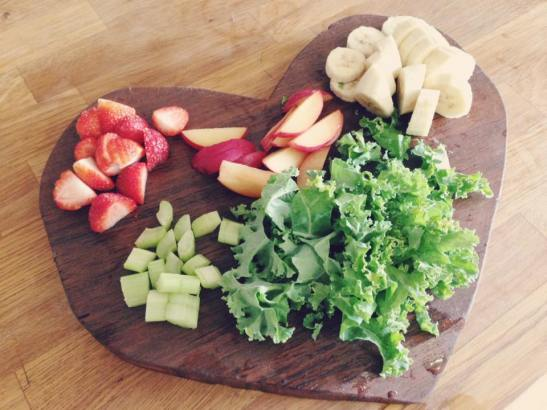 My new love heart chopping board made by my finance's dad! My smoothie prep on top.