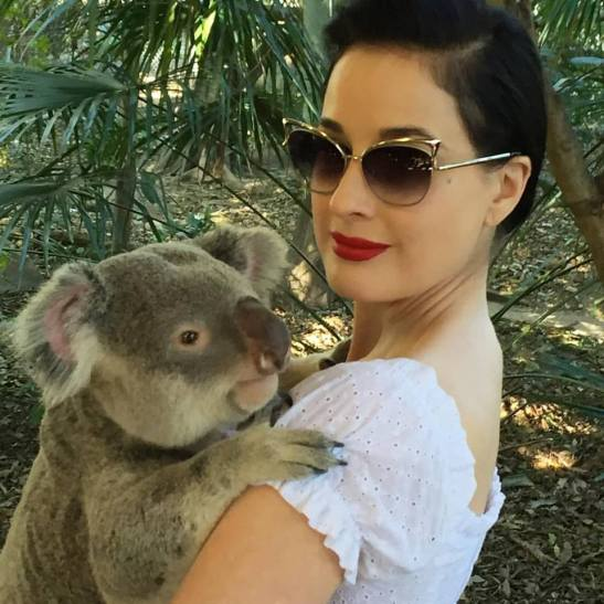 Dita down under holding a koala at an animal sanctuary.