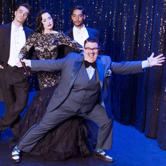Dita with MC Murray Hill, and her two handsome backup dancers; Alek Palinski, and Eliezer Martinez